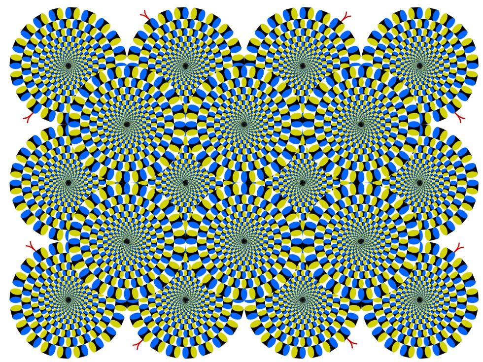 geometric colored pinwheel rotating illusion
