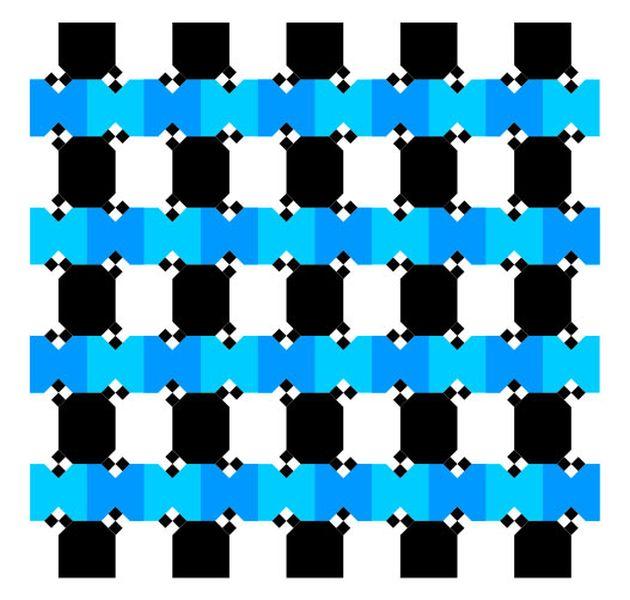 Horizontal blue and black line optical illusion