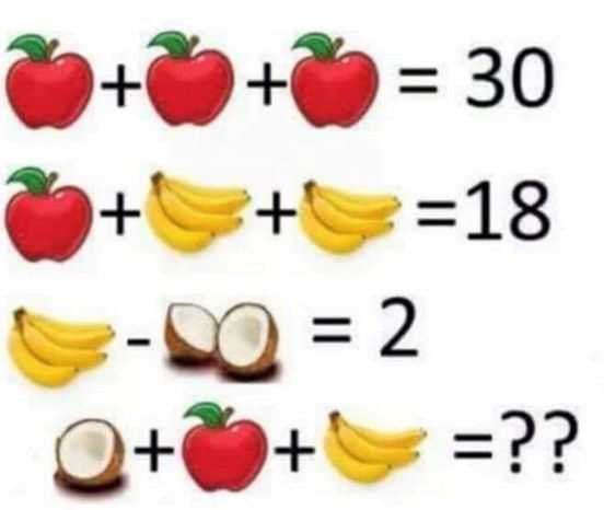 Fruit math problem grainy image - Math riddle