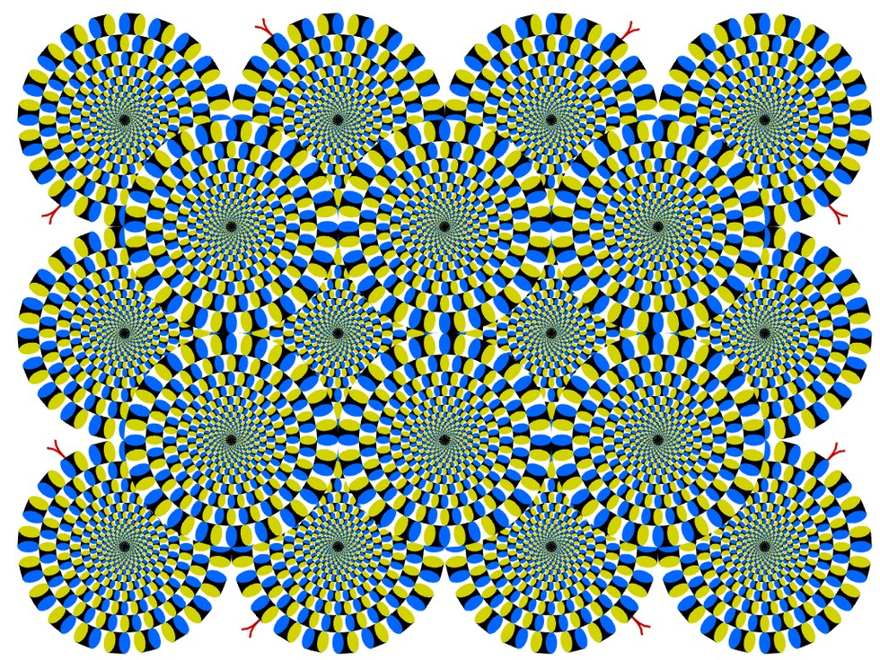 geometric colored pinwheel rotating illusion