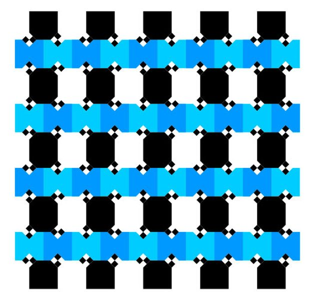 Horizontal blue and black line optical illusion